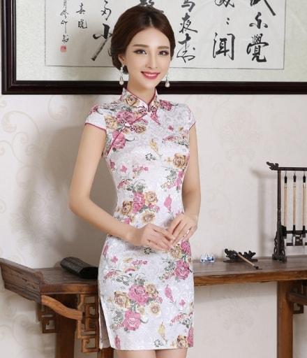 Jacquard Cheongsam Import DS4163 White f4a6286bd1