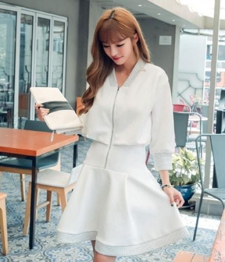 Premium Korea Casual Dress Import DS4207 White