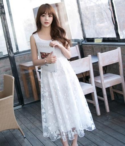 Korea Princess Long Dress DS4210 White