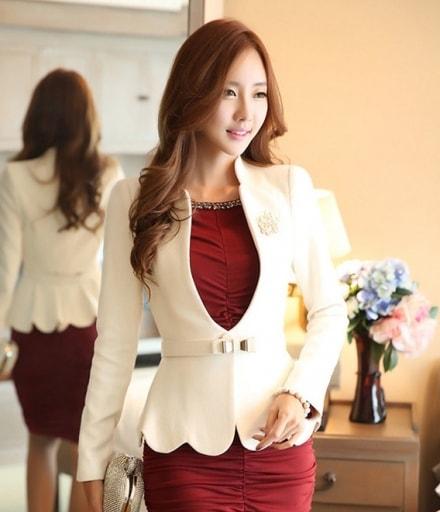 Premium HQ Blazer Wanita Import JC864 White
