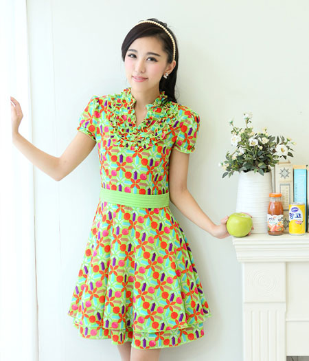 Premium High Quality Dress DS3279 Green