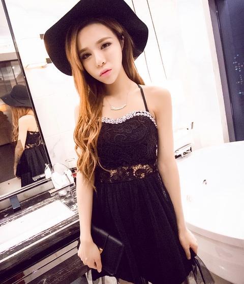 Mesh Halter Dress Ds3946 Black Tamochi