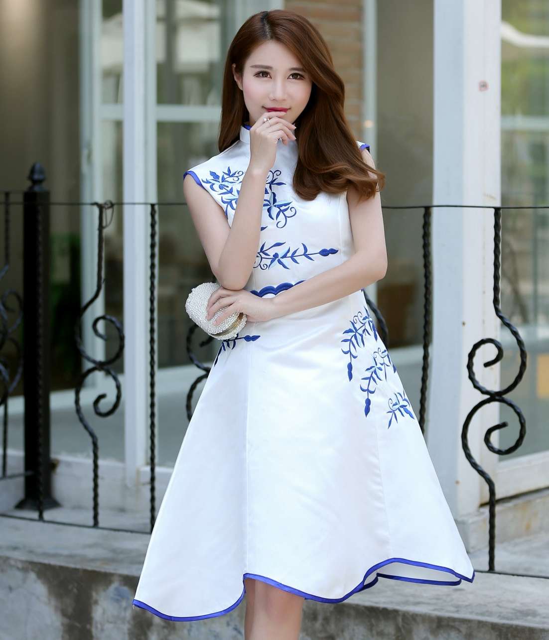 Premium Cheongsam Import DS4221 Blue