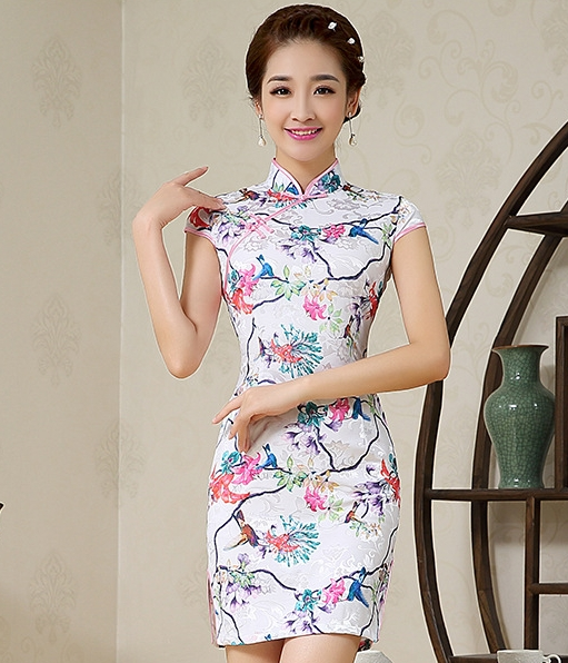 Jacuard Cheongsam Import DS4244 White